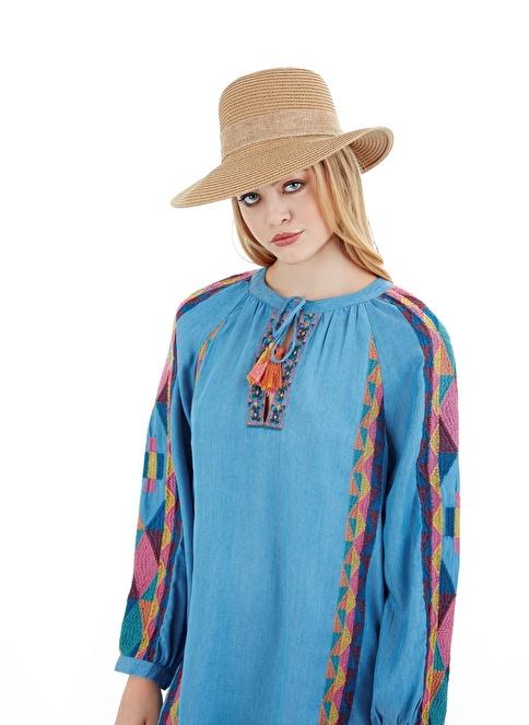 Laslusa İçten Ayarlanabilir Hasır Yarım Ay Fiyonklu Şapka Camel